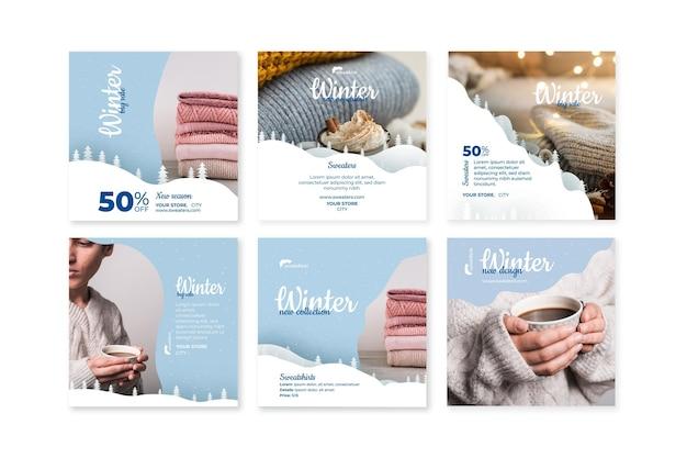 Collection De Publications Instagram D'hiver Vecteur Premium