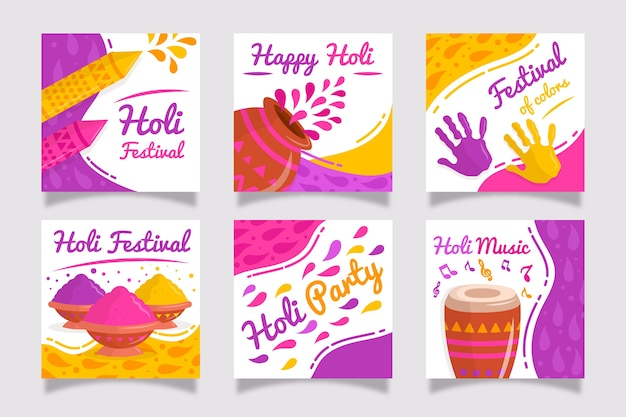 Collection de publications instagram avec holi festival