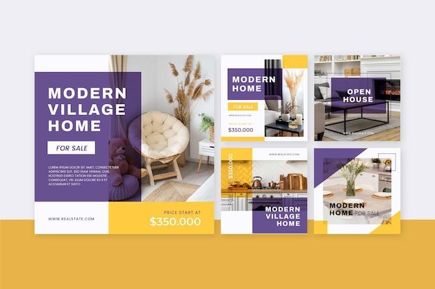 Collection de publications instagram immobilier plat