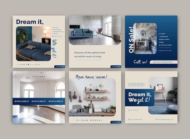 Collection de publications instagram sur l'immobilier