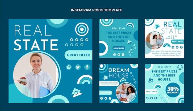 Collection de publications instagram immobilières design plat