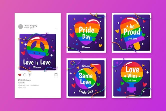 Collection de publications instagram jour de la fierté dégradé