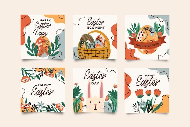 Collection de publications instagram avec le jour de pâques
