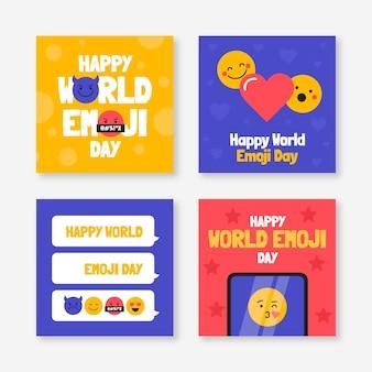 Collection de publications instagram jour plat monde emoji