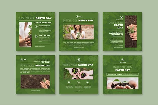 Collection de publications instagram jour de la terre mère