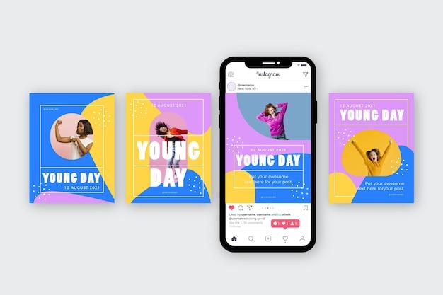 Collection de publications instagram de la journée internationale de la jeunesse dessinée à la main avec photo