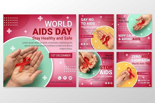 Collection de publications instagram de la journée mondiale du sida en dégradé