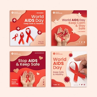 Collection de publications instagram de la journée mondiale du sida de style papier