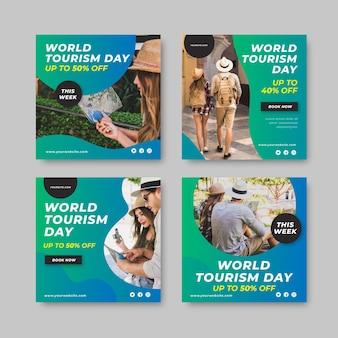 Collection de publications instagram de la journée mondiale du tourisme dégradé avec photo