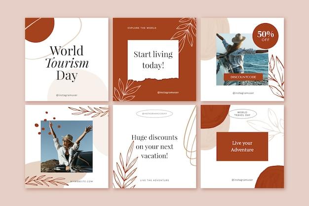 Collection de publications instagram de la journée mondiale du tourisme avec photo