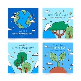 Collection de publications instagram de la journée mondiale de l'environnement dessinés à la main