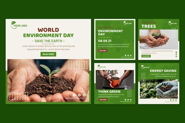 Collection De Publications Instagram De La Journée Mondiale De L'environnement Plat Vecteur gratuit