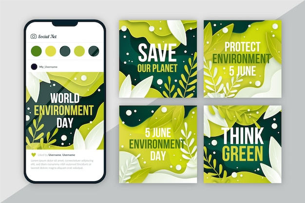 Collection de publications instagram de la journée mondiale de l'environnement plat