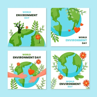 Collection de publications instagram de la journée mondiale de l'environnement plat
