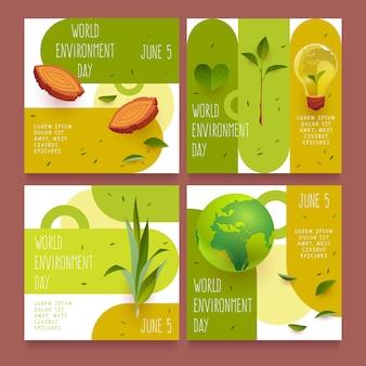 Collection de publications instagram de la journée mondiale de l'environnement