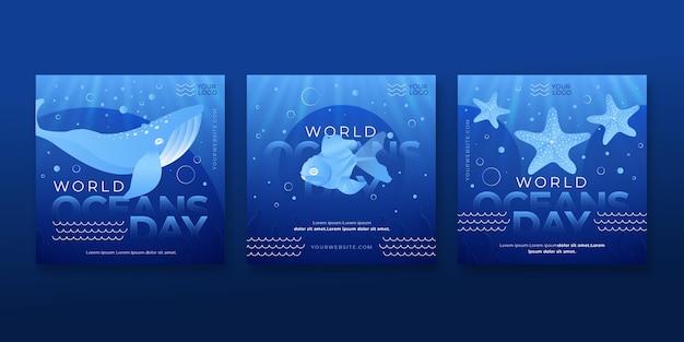 Collection de publications instagram de la journée mondiale des océans de dégradé