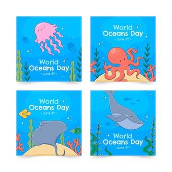 Collection De Publications Instagram De La Journée Mondiale Des Océans Dessinée à La Main Vecteur gratuit