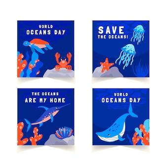 Collection de publications instagram de la journée mondiale des océans dessinée à la main