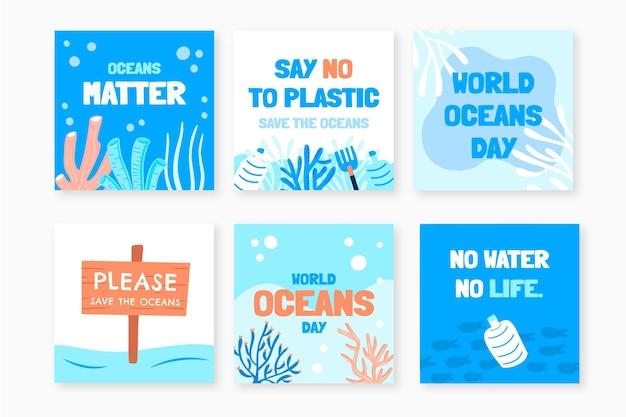 Collection de publications instagram de la journée mondiale des océans dessinés à la main