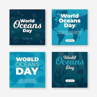 Collection de publications instagram de la journée mondiale des océans