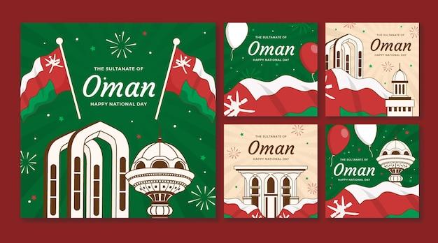 Collection de publications instagram de la journée nationale d'oman dessinée à la main