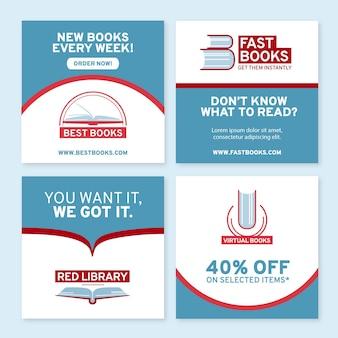 Collection de publications instagram de lecture à plat