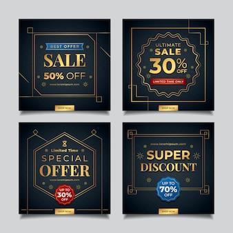 Collection de publications instagram de luxe doré dégradé