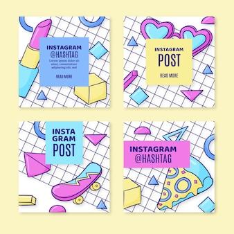 Collection de publications instagram nostalgiques des années 90 dessinées à la main