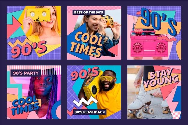 Collection de publications instagram nostalgiques nostalgiques des années 90 dessinées à la main avec photo