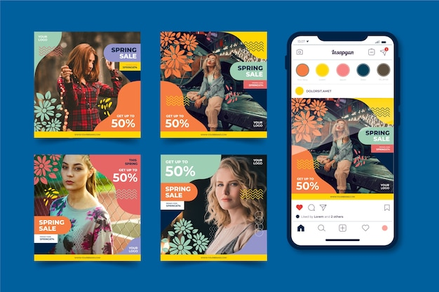 Collection de publications instagram avec offre de vente de printemps