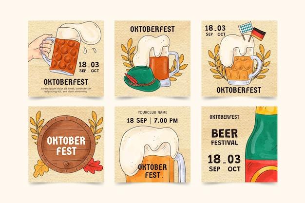 Collection de publications instagram oktoberfest aquarelle
