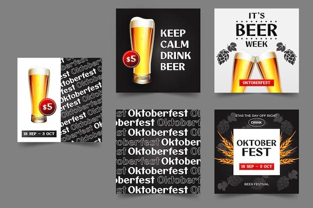 Collection de publications instagram oktoberfest dégradé