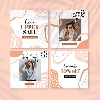 Collection de publications instagram peintes à la main avec photo