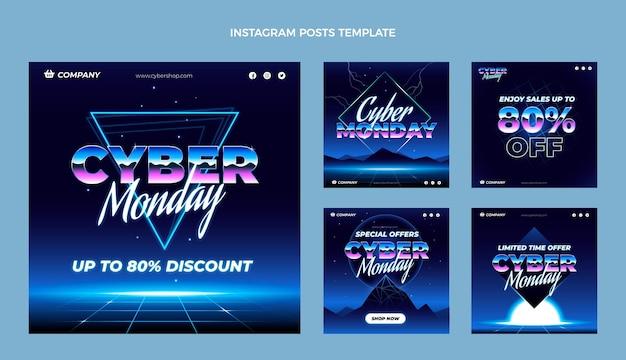 Collection de publications instagram à plat sur le cyber lundi
