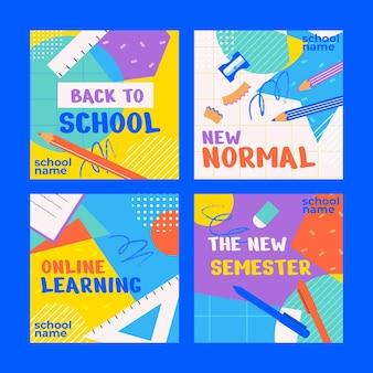 Collection de publications instagram à plat pour la rentrée scolaire