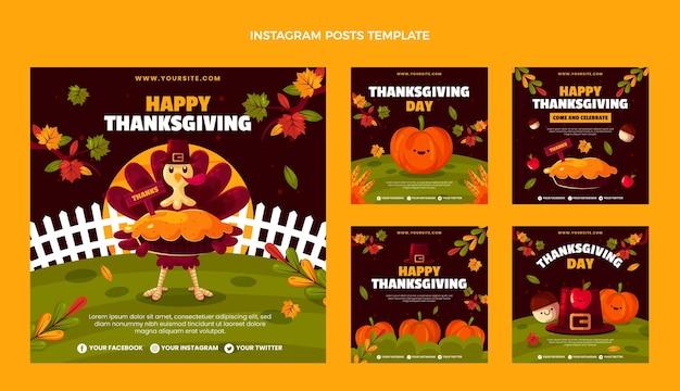 Collection de publications instagram à plat pour thanksgiving