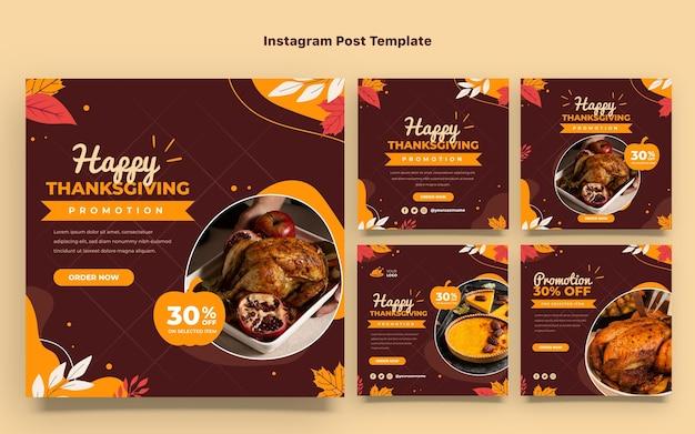 Collection De Publications Instagram à Plat Pour Thanksgiving Vecteur Premium