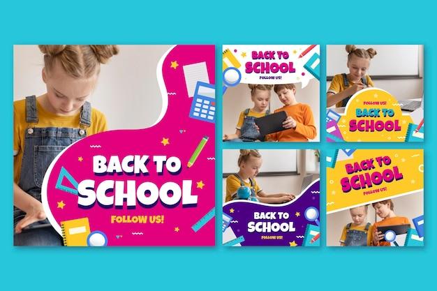 Collection de publications instagram à plat de retour à l'école avec photo