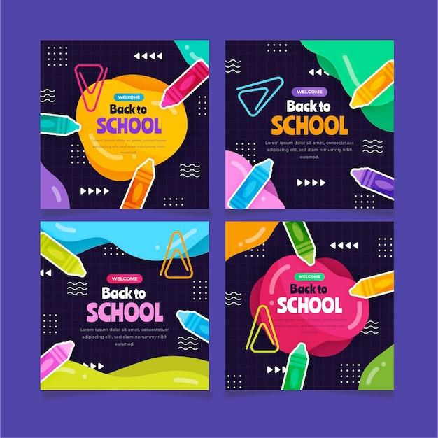 Collection de publications instagram à plat de retour à l'école