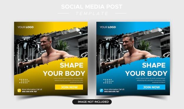 Collection de publications instagram à plat sur la santé et la forme physique
