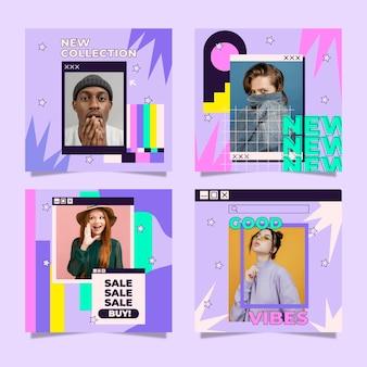 Collection de publications instagram à plat