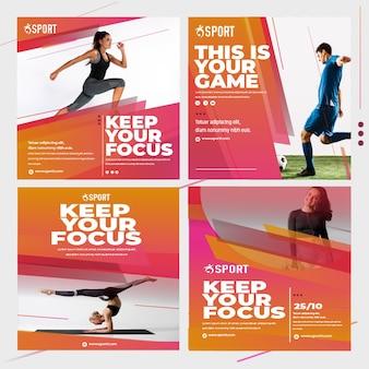 Collection de publications instagram pour l'activité sportive