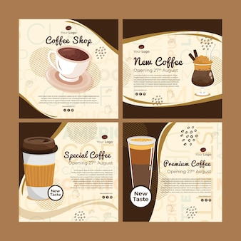 Collection de publications instagram pour café