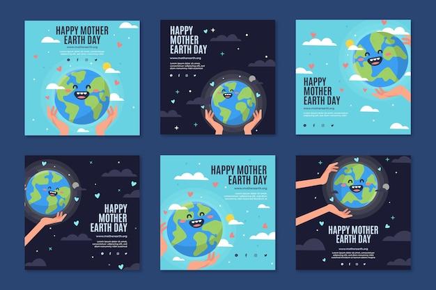 Collection de publications instagram pour la célébration du jour de la terre mère
