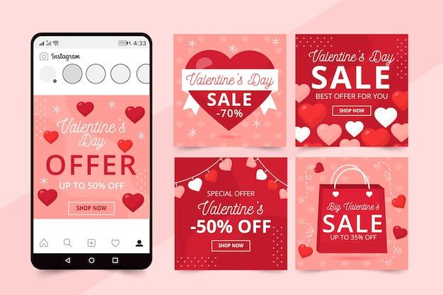 Collection de publications instagram pour la célébration de la saint-valentin