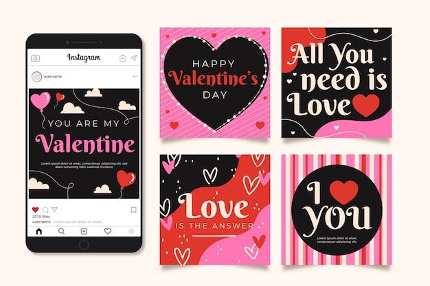 Collection de publications instagram pour l'événement de la saint-valentin