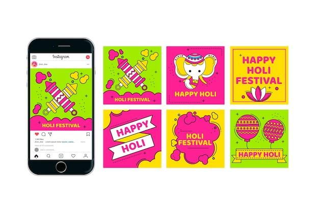 Collection de publications instagram pour le festival de holi