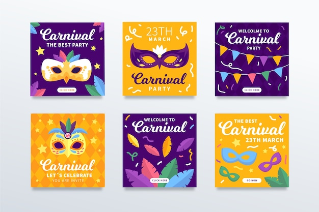 Collection de publications instagram pour la fête du carnaval
