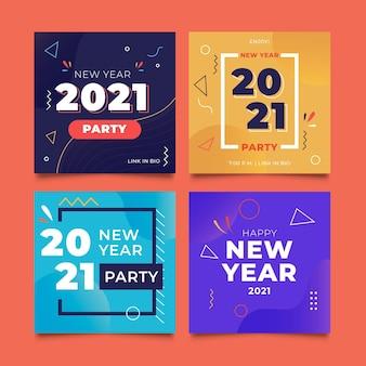 Collection de publications instagram pour la fête du nouvel an 2021