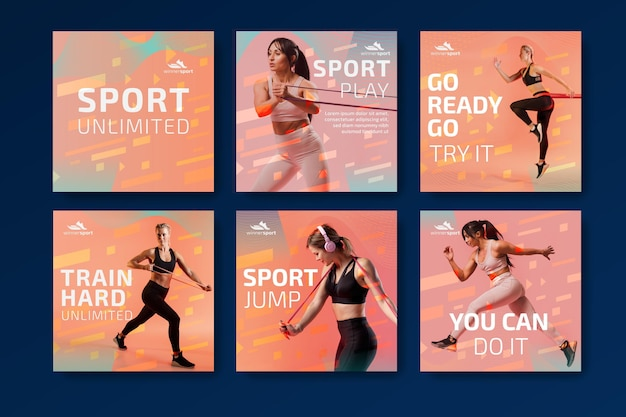 Collection de publications instagram pour le fitness au gym